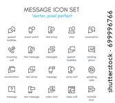 message theme  line icon set.... | Shutterstock .eps vector #699996766