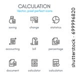 calculation theme  line icon... | Shutterstock .eps vector #699996820