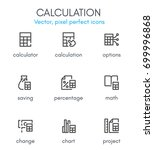 calculation theme  line icon... | Shutterstock .eps vector #699996868