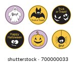 set of round halloween tags and ... | Shutterstock .eps vector #700000033