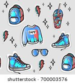 seamless 80's patches and...   Shutterstock .eps vector #700003576