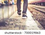 Bacpack Walking In Train...