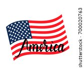 american flag with inscription... | Shutterstock .eps vector #700020763