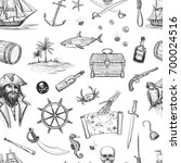 seamless pirate background.... | Shutterstock .eps vector #700024516