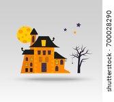 cute vector halloween castle... | Shutterstock .eps vector #700028290