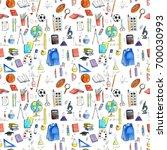 school doodle seamless pattern  ... | Shutterstock . vector #700030993