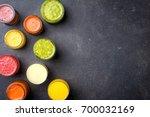 glasses of fresh juice. top view   Shutterstock . vector #700032169