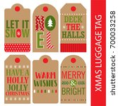 christmas luggage tag collection | Shutterstock .eps vector #700033258