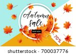 autumn sale flyer template with ... | Shutterstock .eps vector #700037776