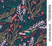 vector floral seamless pattern ...   Shutterstock .eps vector #700038406