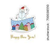 merry christmas and a happy new ... | Shutterstock .eps vector #700038550