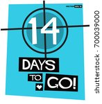 14 days to go retro poster | Shutterstock .eps vector #700039000