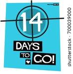 14 days to go retro poster | Shutterstock .eps vector #700039000