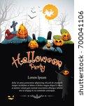 pumpkin halloween party... | Shutterstock .eps vector #700041106