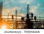 silhouette of engineer and... | Shutterstock . vector #700046668