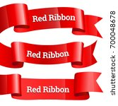 ribbons set. realistic red... | Shutterstock .eps vector #700048678