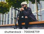 stylish bearded male in... | Shutterstock . vector #700048759