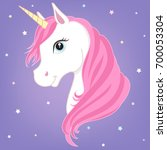 white unicorn vector head with... | Shutterstock .eps vector #700053304