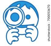 happy smiley is looking through ...   Shutterstock .eps vector #700053670