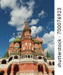 st basil's cathedral on red... | Shutterstock . vector #700076923