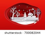 christmas paper art. red tone... | Shutterstock .eps vector #700082044