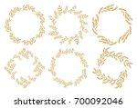set of hand drawn autumn... | Shutterstock .eps vector #700092046