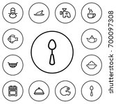 set of 12 editable cook outline ...