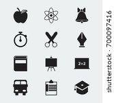 set of 12 editable education... | Shutterstock .eps vector #700097416