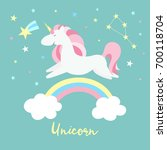 unicorn on rainbow. cute magic... | Shutterstock .eps vector #700118704