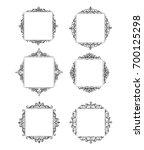 vintage vector swirl frame set | Shutterstock .eps vector #700125298