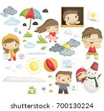 weather and people vector set | Shutterstock .eps vector #700130224