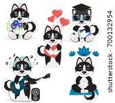 set of vector cute cartoon... | Shutterstock .eps vector #700132954
