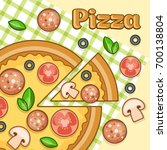 poster with homemade pizza...   Shutterstock .eps vector #700138804