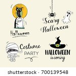 happy halloween hand drawn... | Shutterstock .eps vector #700139548
