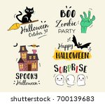 happy halloween hand drawn... | Shutterstock .eps vector #700139683