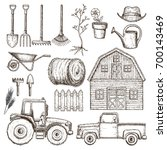 set of farming equipment icons. ... | Shutterstock .eps vector #700143469