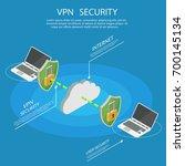 isometric internet security vpn ... | Shutterstock .eps vector #700145134