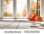 autumn white kitchen with big... | Shutterstock . vector #700150450