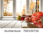 autumn white kitchen with big... | Shutterstock . vector #700150720