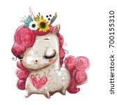 Stock photo cute cartoon unicorn with flower wreath and heart 700155310
