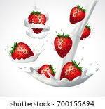 strawberries and milk splashes. ... | Shutterstock .eps vector #700155694