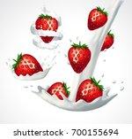 strawberries and milk splashes. ... | Shutterstock .eps vector #700155694