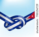 cuba ribbon flag on bue sky... | Shutterstock .eps vector #700156729