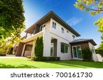 Small photo of Exterior view of house with green grass.Home For Sale,Rent,Housing and Real Estate concept.