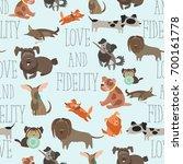 seamless pattren funny mixed... | Shutterstock .eps vector #700161778