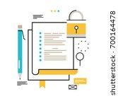 digital data security flat line ... | Shutterstock .eps vector #700164478