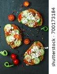 tomato and basil pesto... | Shutterstock . vector #700173184
