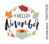 hello november. autumn leaves... | Shutterstock .eps vector #700175320