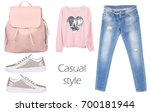 outfit of casual woman. jeans ... | Shutterstock . vector #700181944