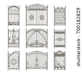 iron gates with decorative... | Shutterstock .eps vector #700182829